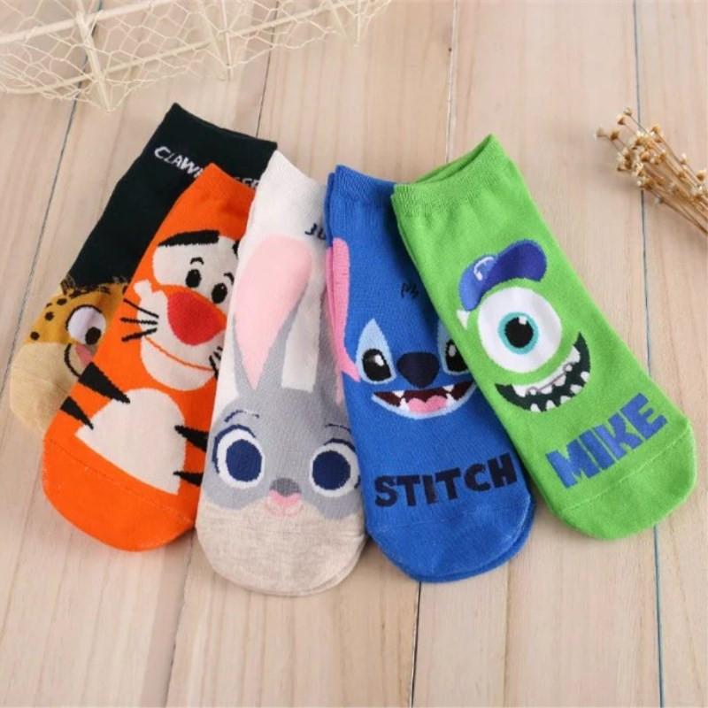 New Cartoon Lovely Ladies Boat Socks Crazed Animal Judy Rabbit Nick Stitch Clawhauser Stitch Mr.Q Tigger Women Socks Kawaii