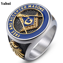 YaHui 2019 New Fashion Blue Gold Color Mens Masonic Masonry Stainless Steel Ring Titanium Rings For Men Jewelry letter ring
