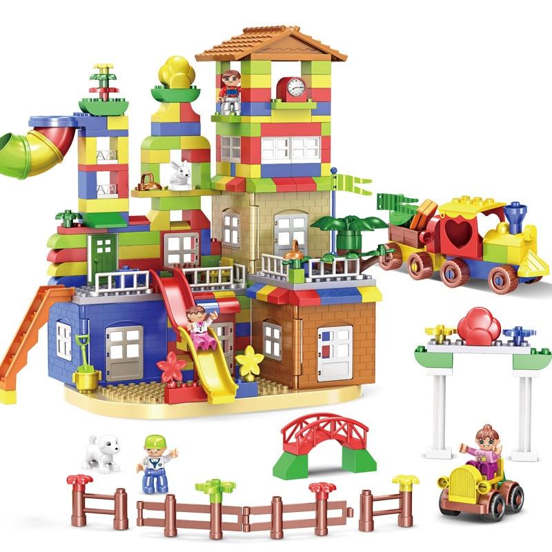 239pcs DIY Colorful City House Roof Big Bricks Building Blocks Castle Educational Toy For Children Compatible