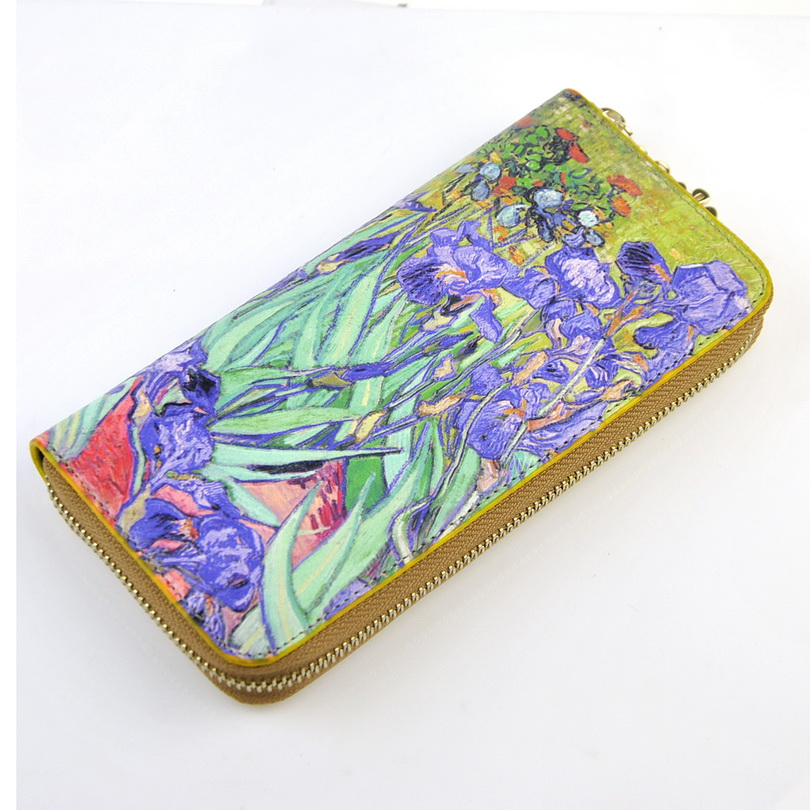 Women Artificial Leather Zip Around Wallet Van Gogh Masterpiece 3D Oil Painting Purse Cellphone Clutch Bag Credit Card Holder