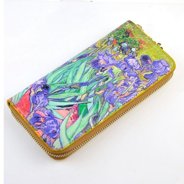 Women Artificial Leather Zip Around Wallet Van Gogh Masterpiece 3D Oil Painting Purse Cellphone Clutch Bag Credit Card Holder
