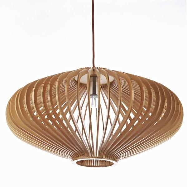 Modern UFO shape wooden lantern pendant light fluorescent lighting ...