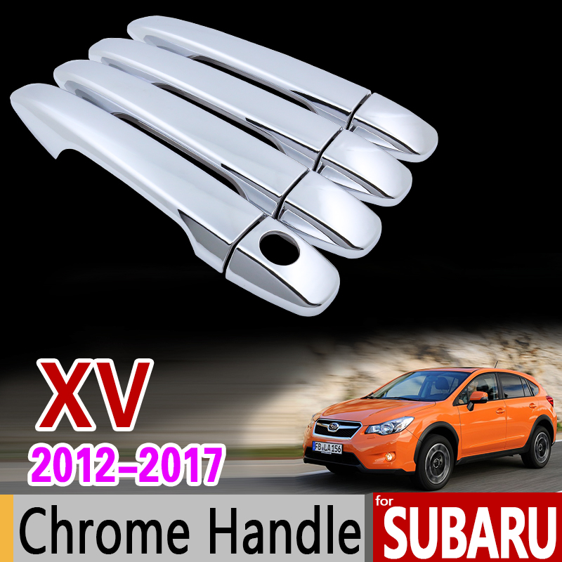 for Subaru XV 2012 - 2017 Luxurious Chrome Handle Cover Trim Set 2013 2014 2015 2016 No Rust Accessories Stickers Car Styling car rear trunk security shield cargo cover for subaru xv crosstrek 2012 2013 2014 2015 2016 2017 high qualit auto accessories