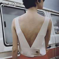 TWOTWINSTYLE Backless Vest For Women V Neck Sleeveless Basic Pullover Short Waistcoats 2018 Spring Fashion Large