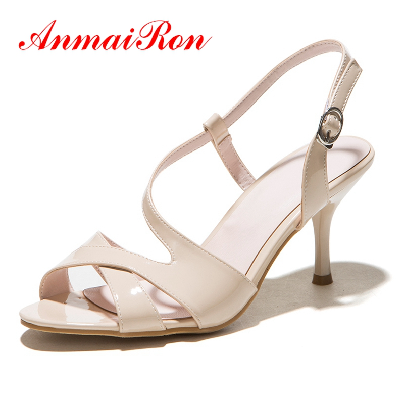 ANMAIRON Summer Sandals Fashion Causal shoes Women Summer open toe thin heel buckle sandals Big size 34-43 ZYL581