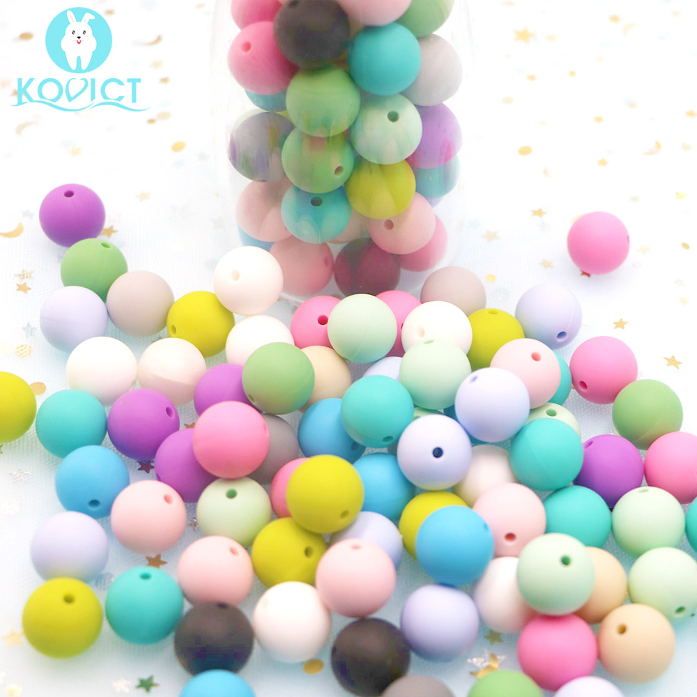 Kovict 50pcs Optional 15mm Silicone Round Beads Rodent Diy For Necklace Chews Pacifier Chain Clips Beads Soft Texture Silicone