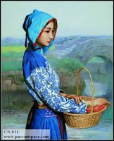 Girl in Blue Chinese oil paintings,Handpainted portrait oil painting top quality Home decoration