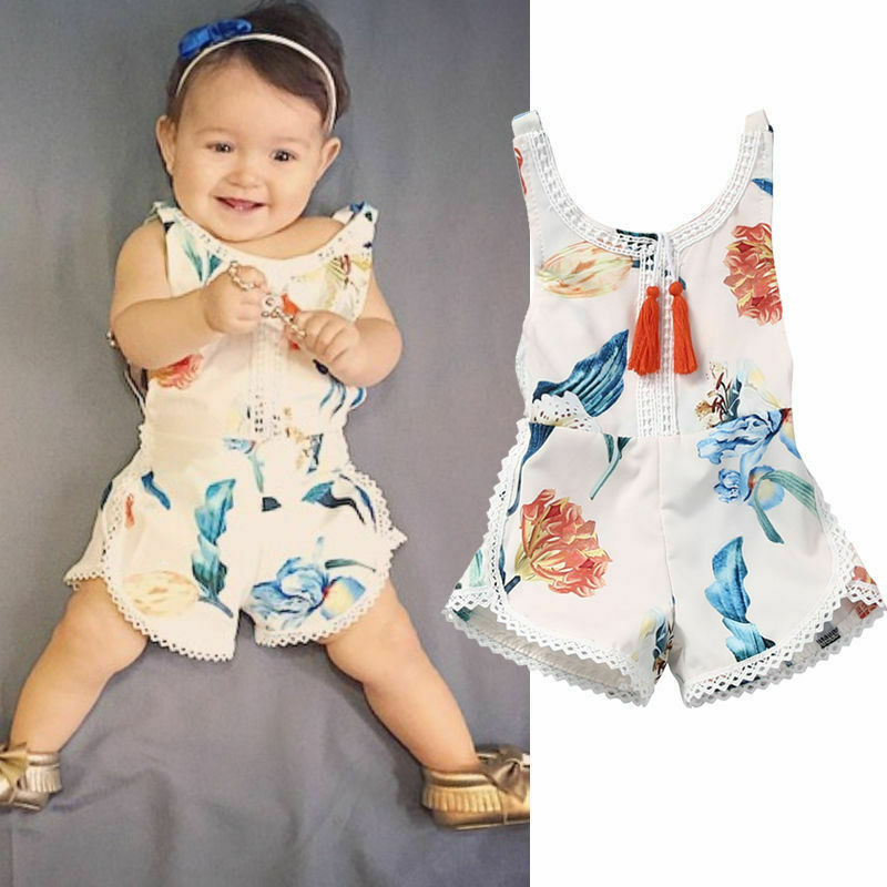 Hot Summer Rompers Baby Girls Ethnic Style Sleeveless Floral Romper Lace Taseel Overalls Backless Girls Clothes 0-4Y Casual