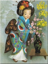 Full Diamond Embroidery Cross Stitch Japanese classical girl Painting 5D Mosaic Decor Rhinestone