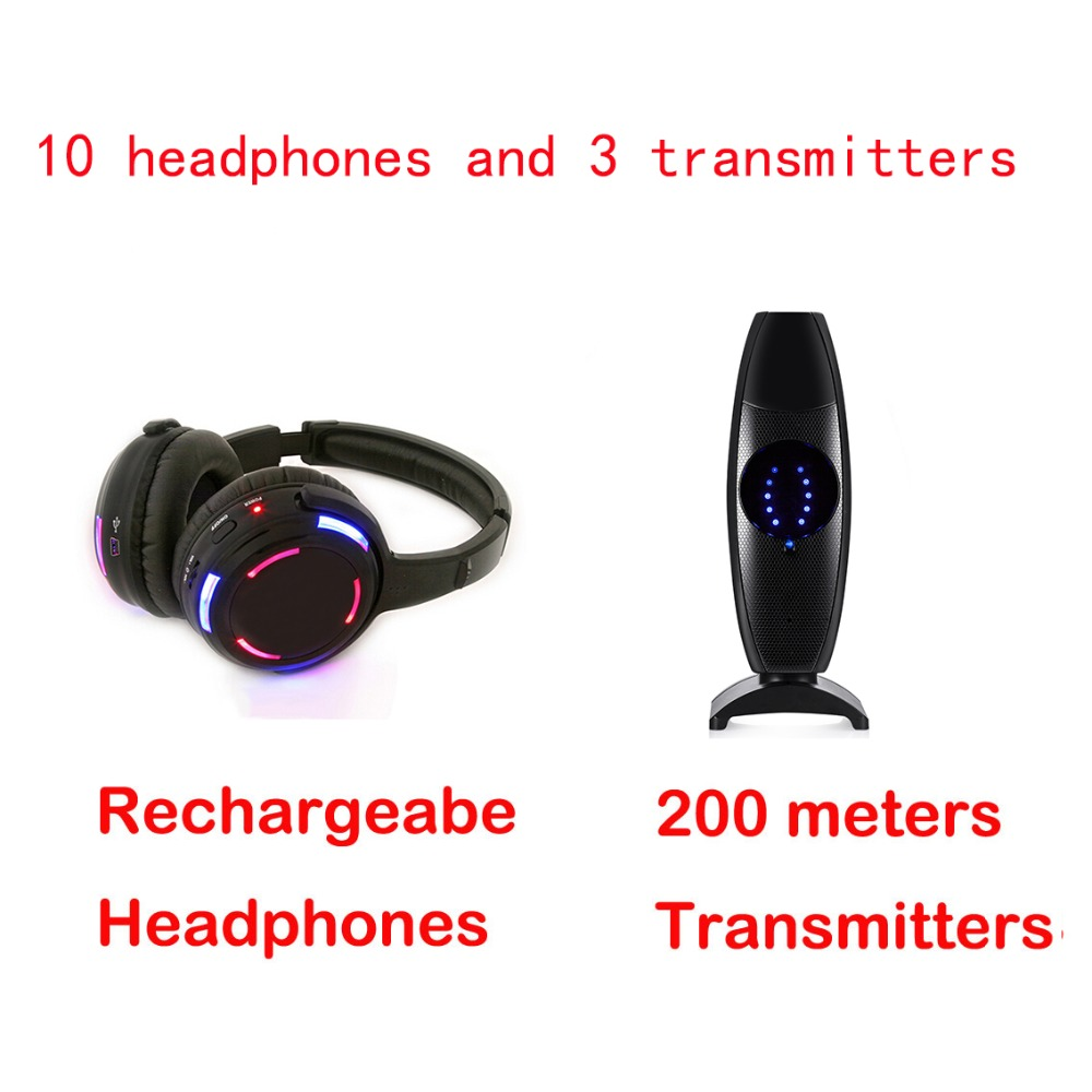Professional Silent Disco 3 channels 10 LED Headphones with 3 transmitters RF Wireless For iPod MP3