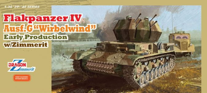 Dragon model 6565 1/35 scale Flakpanzer IV Ausf.G Wirbelwind Early Production w/Zimmerit realts dragon 6746 1 35 flak 43 flakpanzer iv ostwind w zimmerit