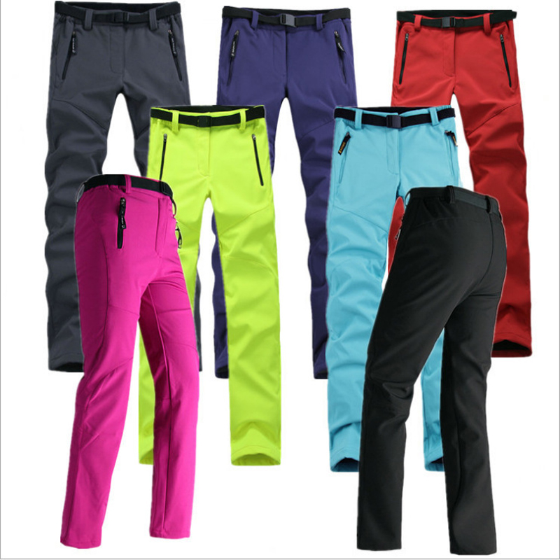 2018 New Winter Men Women Hiking Pants Outdoor Waterproof Softshell Trousers Windproof Thermal for Camping Ski Climbing Cycling