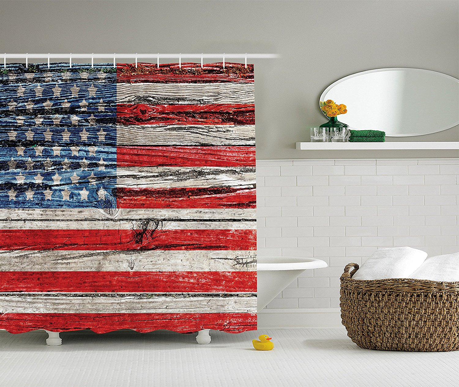 American Flag Shower Curtain USA Decor Painted Old Wooden ...