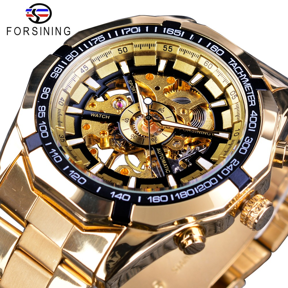 Forsining Classic Sport Racing Gold Steel Royal Men Watch Top Brand Luxury Creative Skeleton Transparent Mechanical Watch ClockForsining Classic Sport Racing Gold Steel Royal Men Watch Top Brand Luxury Creative Skeleton Transparent Mechanical Watch Clock