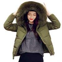 2019 nova moda grande gola de pele quente com capuz outono inverno jaqueta feminina algodão acolchoado curto casaco feminino