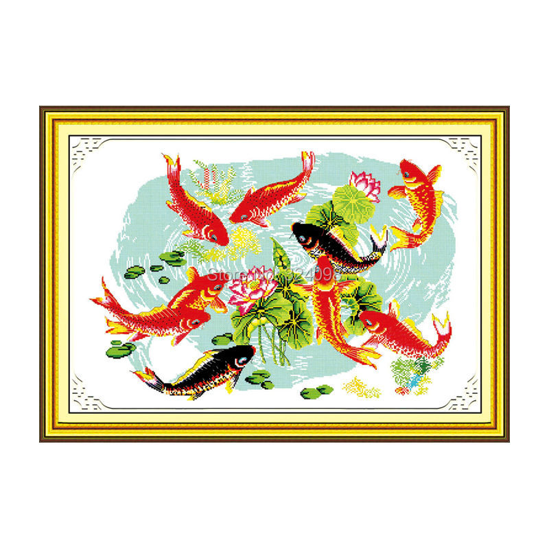 Wholesale Needlework,Stitch,11CT 14CT Cross Stitch,Sets For Embroidery Kits,Night fishes play with lotus Cross-Stitching