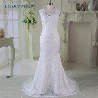 Fashion Mermaid Lace Wedding Dresses 2017 Vestido De Noiva Detachable Straps Bridal Gown Wedding Dress Bride