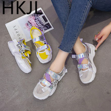 HKCP Sports sandals female 2019 summer Korean version of the Roman breathable muffin thick bottom baotou casual shoes A526
