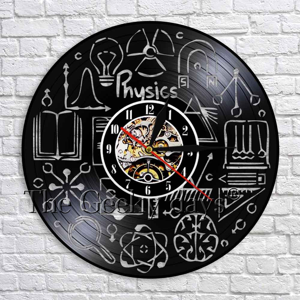 Physics Vinyl Record Wall Clock Modern Design Art Wall Decorative Handmade Time Clock 3D Wall Watch For Physics Lover