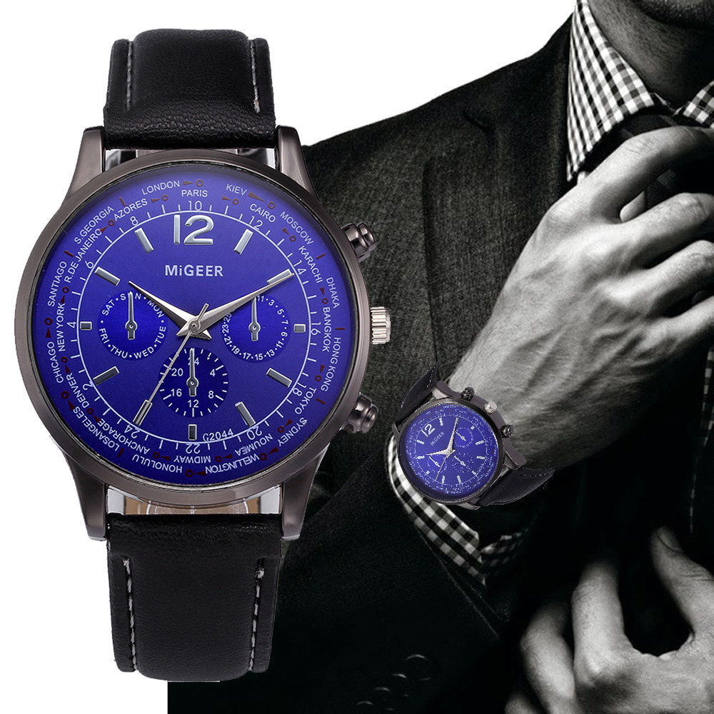 MIGEER Men Fashion Blue Ray Dial Watches Male Clock Military Vintage Leather Business Quartz Wrist Watch Relogio Masculino #LH