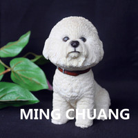 Cute Simulation Puppy Statue Small size terriers Bichon Frise A pet dog Bust Resin Action Figure Collectible Model Toy 15.5CM