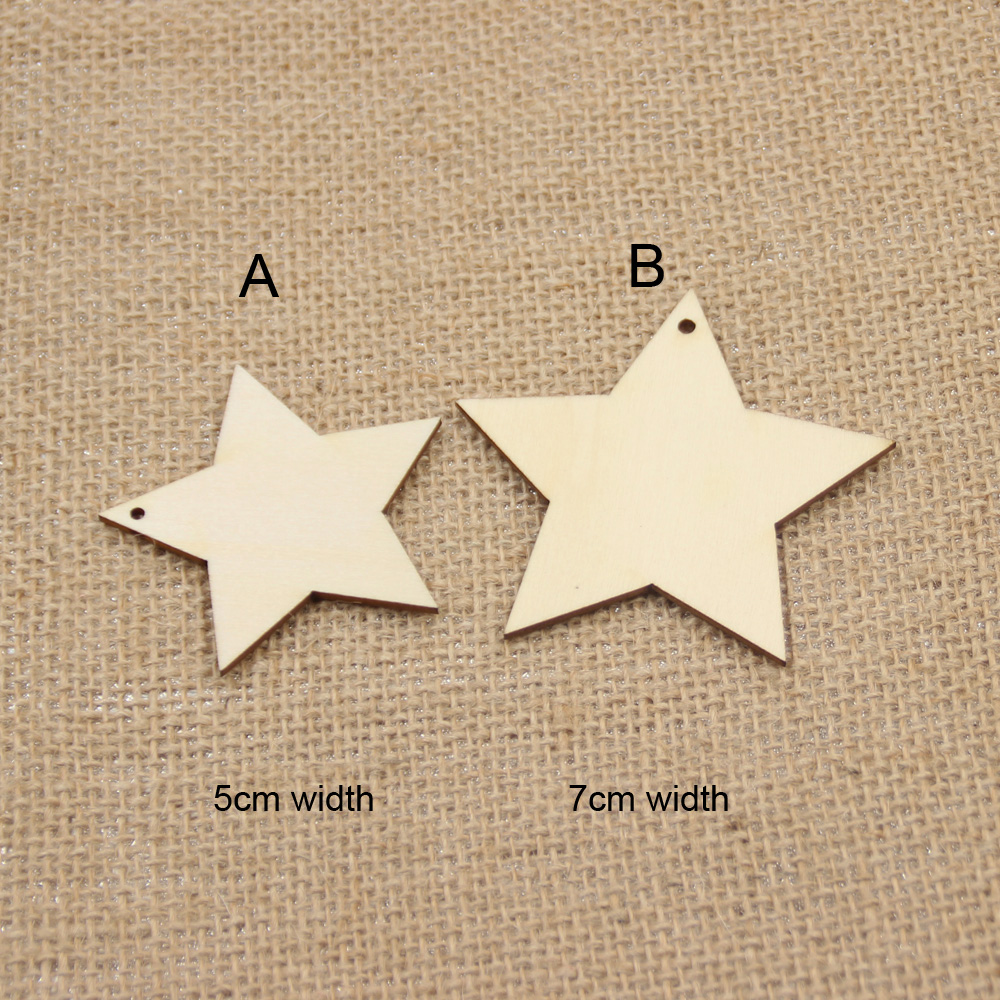 50 PCS / lots Natural rustic wood star tags wishing tree favor plain custom tags with st ...