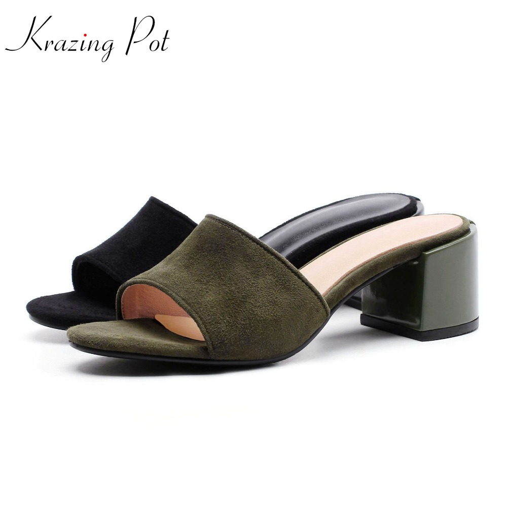 krazing pot 2018 genuine leather slip on open toe women sandals concise superstar square high heels green black color mules L01 krazing pot genuine leather sheep skin thick high heels square toe zipper boots women superstar party western mid calf boots l17
