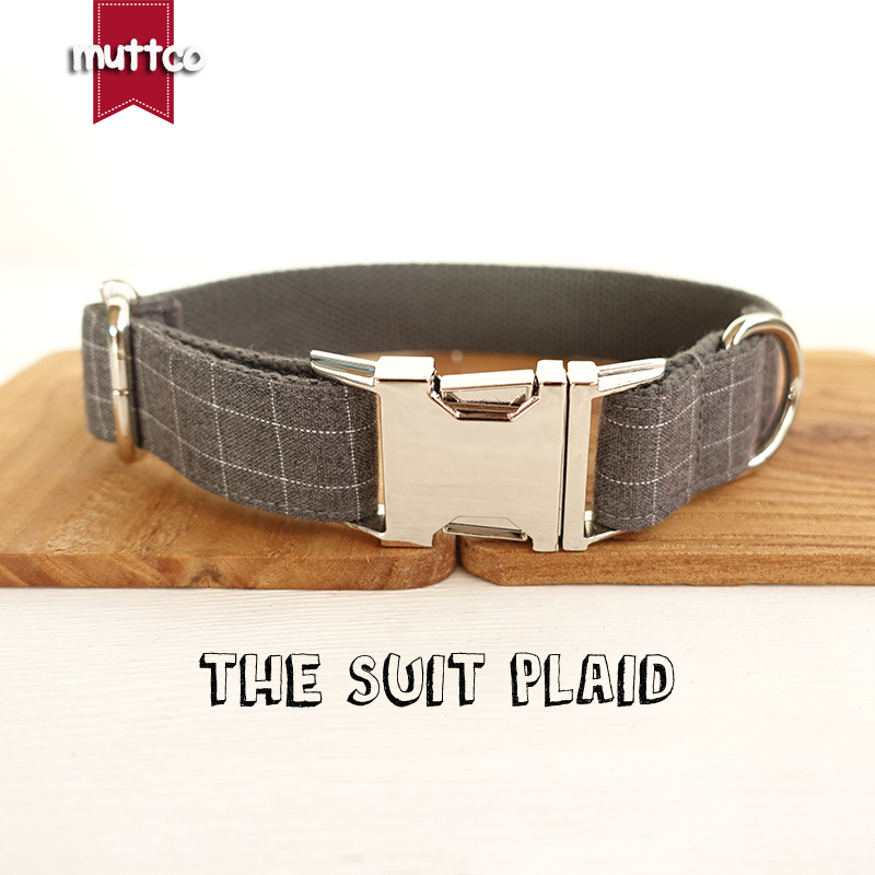 MUTTCO retailing cool plaid collar handmade dog collar THE SUIT PLAID 5 sizes dog collar UDC001
