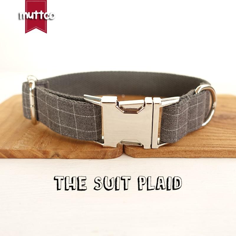 MUTTCO retailing cool plaid collar handmade dog collar THE SUIT PLAID 5 sizes dog collar