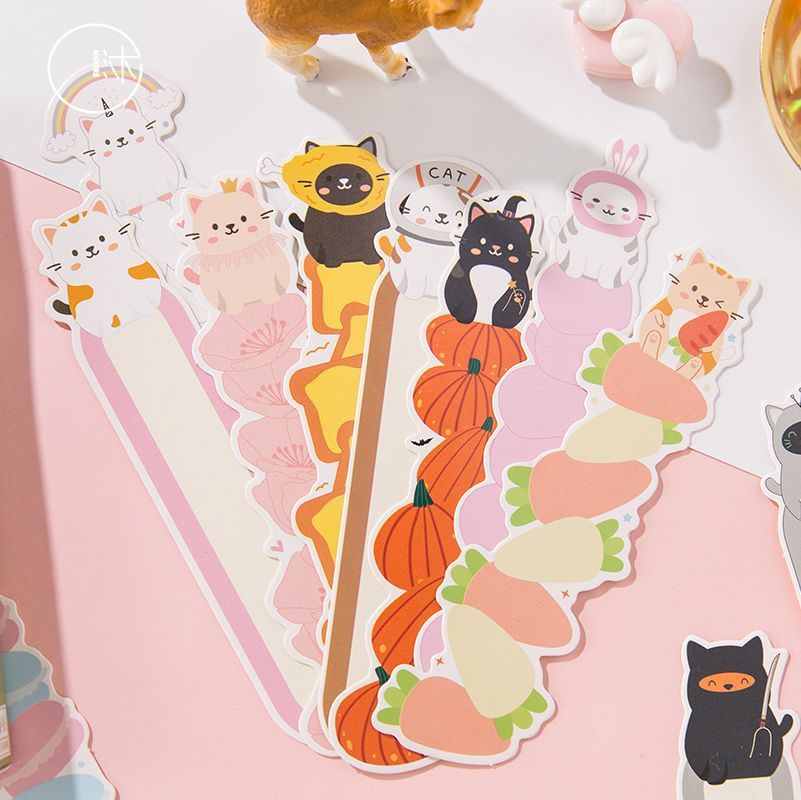 1set/1lot Cartoon Cute Cat Paper Bookmarks Message Cards Bookmark For Books/Share/book Markers/tab For Books/stationery