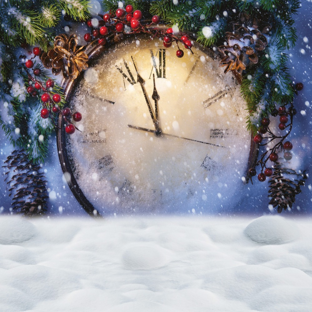 Christmas Clock bakcdrops snow Photography backdrops  300x300cm  Fond studio photo vinyle  Photo background clock