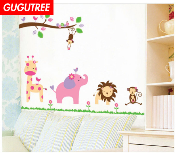Decorate deer lion monkey trees leaf art wall sticker decoration Decals mural painting Removable Decor Wallpaper LF 1840 in Wall Stickers from Home Garden