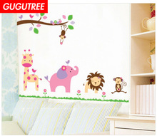 Decorate deer lion monkey trees leaf art wall sticker decoration Decals mural painting Removable Decor Wallpaper LF-1840