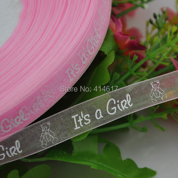 5Y 1 2 quot Organza ribbon Boy girl baby show Craft Pink amp Blue Q11 in Ribbons from Home amp Garden