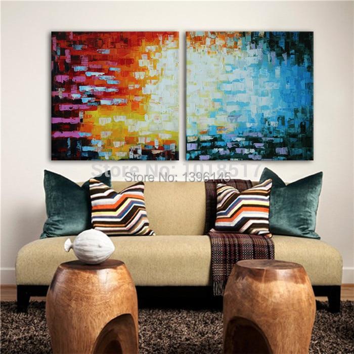 pintado a mano dormitorio fotos de espesor pintado abstracta pintura al leo del cuchillo conjunto de