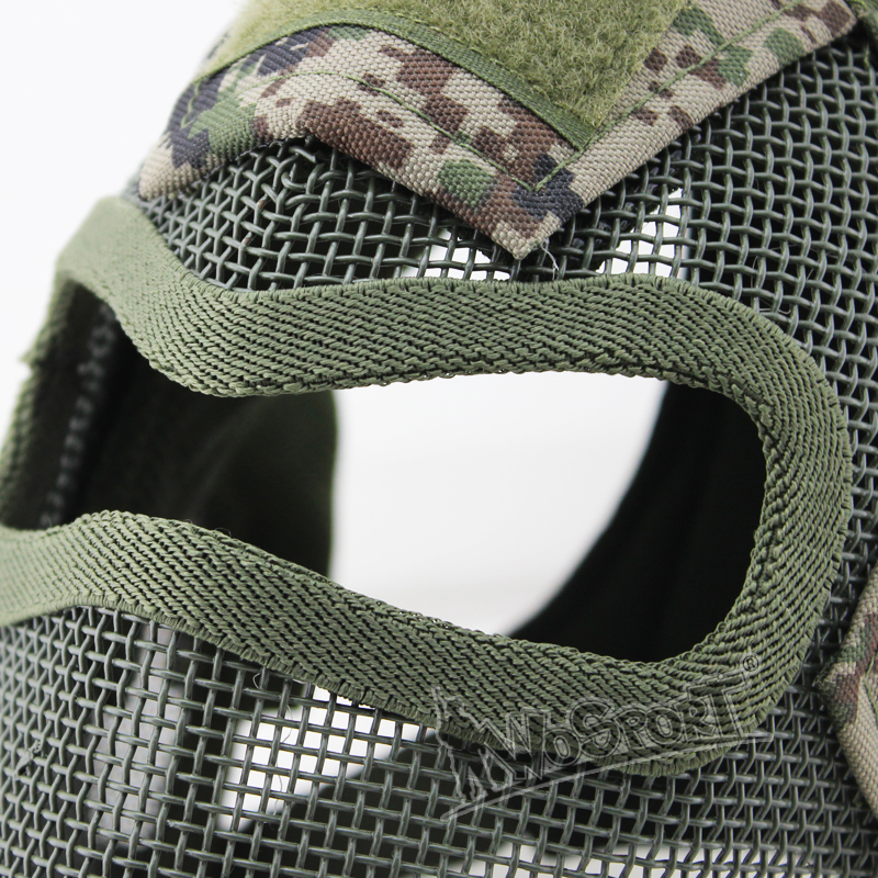 Wosport Tactical V7 Watchers Full Face Metal Net Mesh Protect Gas Mask Cover Ear For Slingshot Military Cosplay Gun Game Airsoft Paintball Accessories