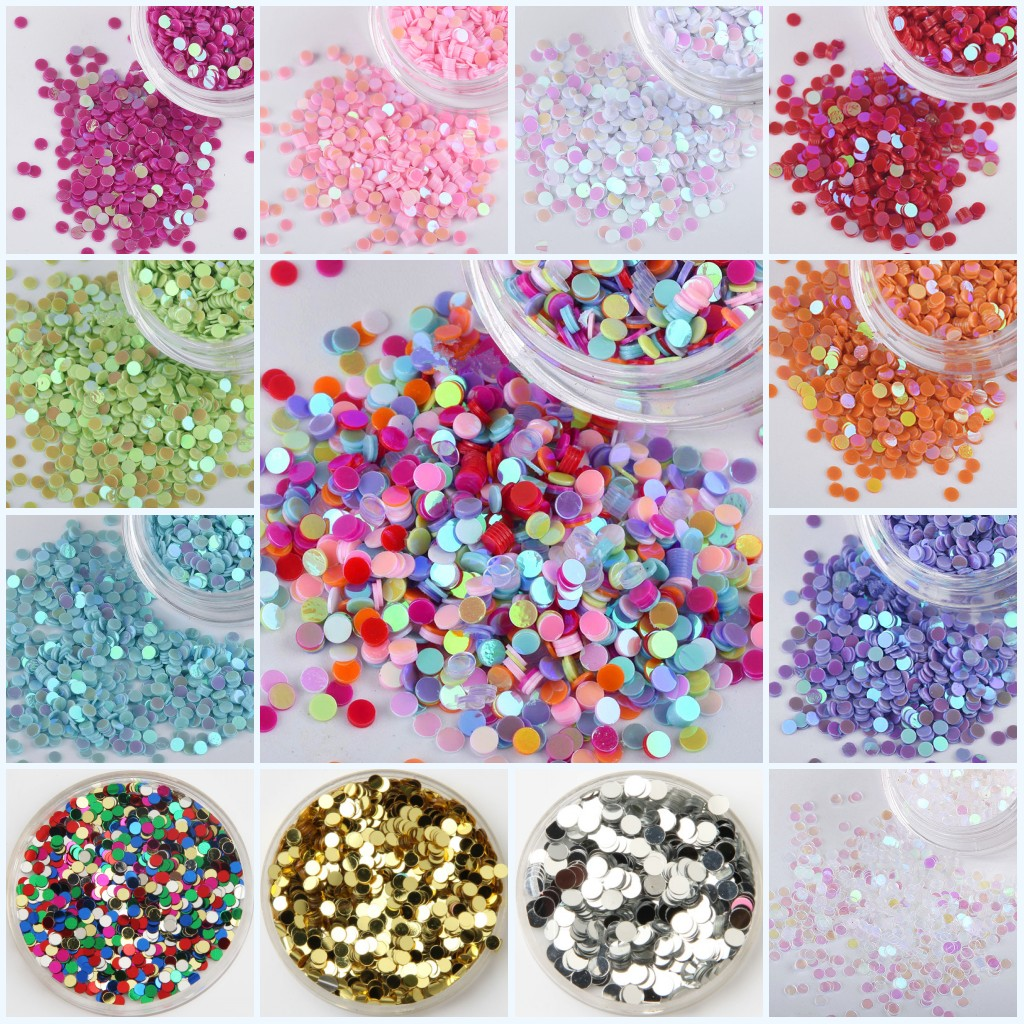Sequin 1mm 2mm Circle Dot Shape Pvc Flat Loose Sequins Paillettes Party Craft Nail Arts Wedding Decoration Confetti 20g