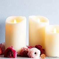 Ksperway LED Flameless Wax Pillar Candle with Remote Ivory 3pcs/set