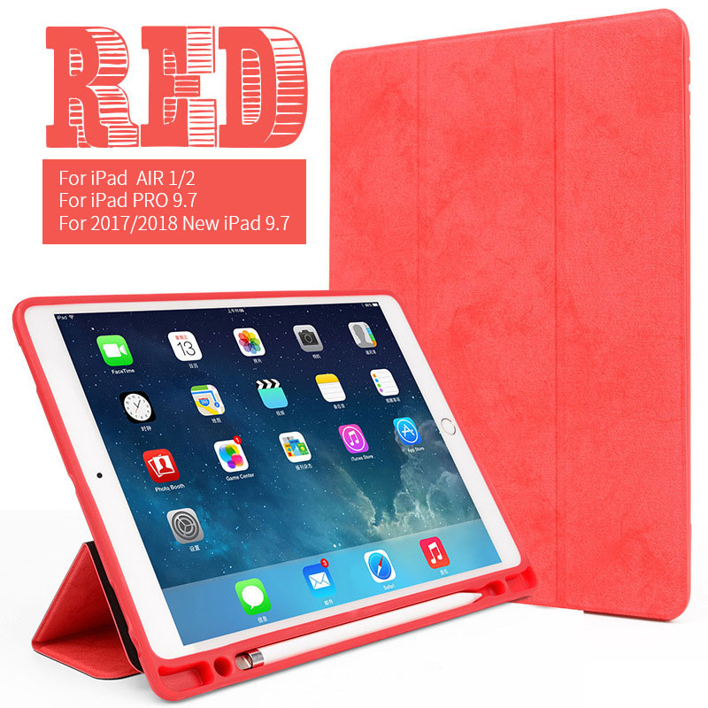 Red 9.7 inch iPad multi color case with build in pencil slot for iPad Air 1/2, pro 9.7, 2017/2018 9.7