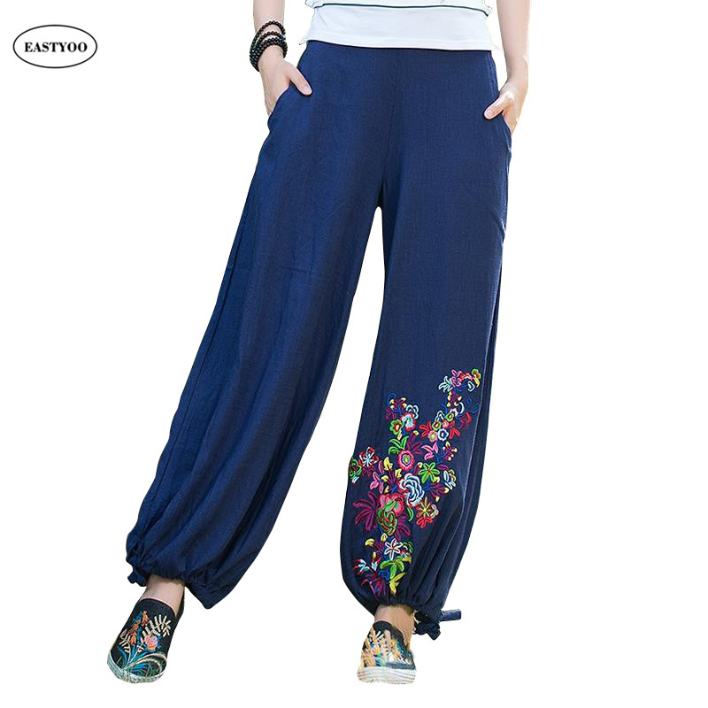 f2a555923dbc0 Loose Linen Pants Women Summer Plus Size Wide Pants Black Long Trousers  Embroidery Elastic Waist Casual Pants Ethnic Trousers