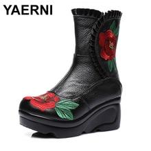 YAERNIWomen Shoe Black Embroider Vintage Floral Wedding Boots Ladies Flat Bottom Genuine Leather Boots Zapatos Mujer Botas E637
