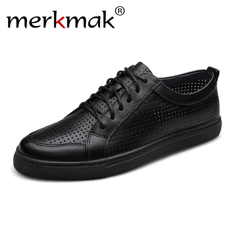 цена на Big Size 47 breathable men genuine leather shoes cowhide casual brand men flat shoes summer fashion lace up foowear for adults
