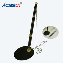 ACMECN 123g Metal Rollerball Pen with Base Fix on table Counter Liquid ink Chain Finance Banking Gel Holder