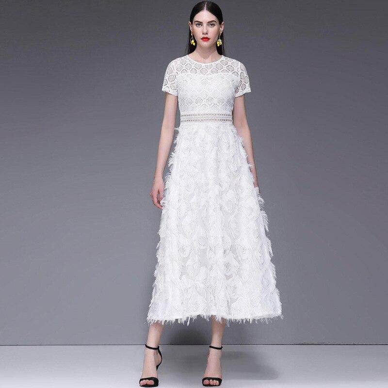 Verano de manga corta cuello gancho hueco de flor de encaje blanco vestido Casual Sexy elegante cena vestido de mujer Maxi vestidos 2019