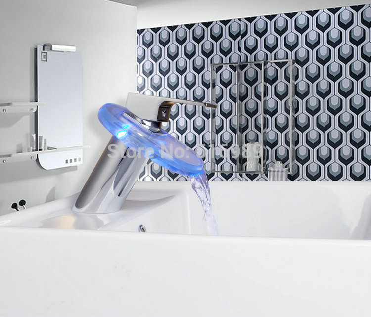 Round LED Color Changing Glass Waterfall Bathroom Basin Faucet Chrome Finish Mixer Tap Cp 20