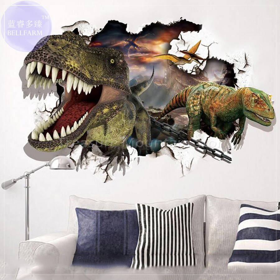 90*60cm 3D Cartoon Dinosaur Home Decar Wall Sticker for Kids Room Boys Love Kids Room Decor Child Gift