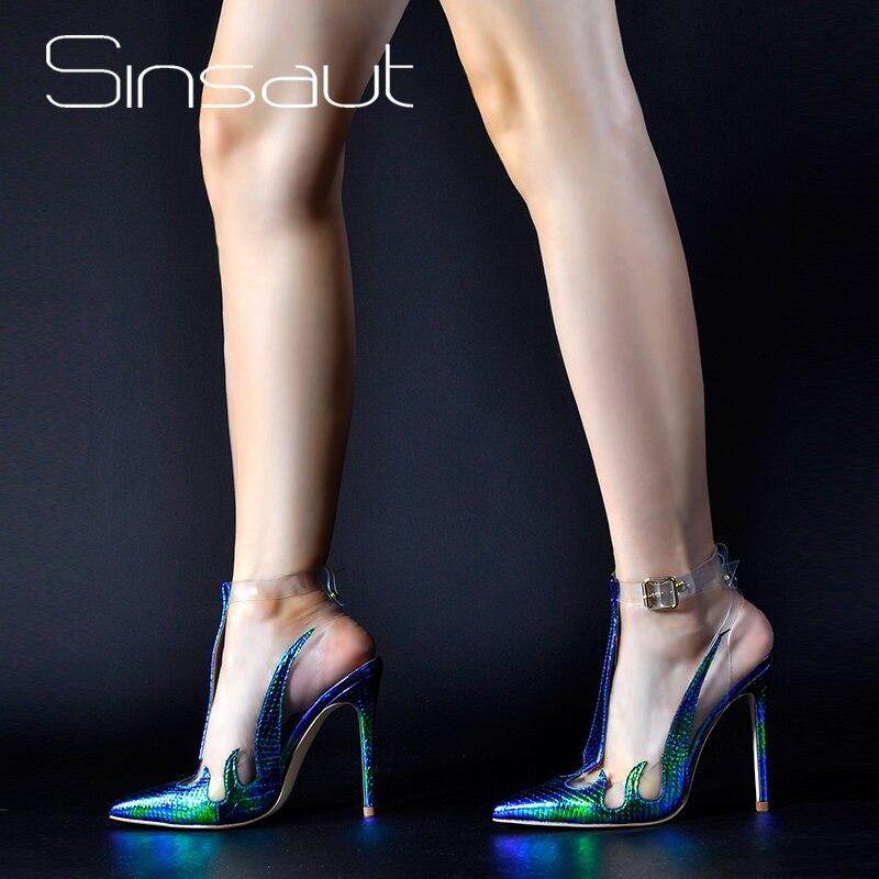 Sinsaut 브랜드 신발 여성 샌들 트렌드 pvc 샌들 투명 슬링 백 여성 펌프 하이힐 지적 발가락 신발-에서하이힐부터 신발 의  그룹 1