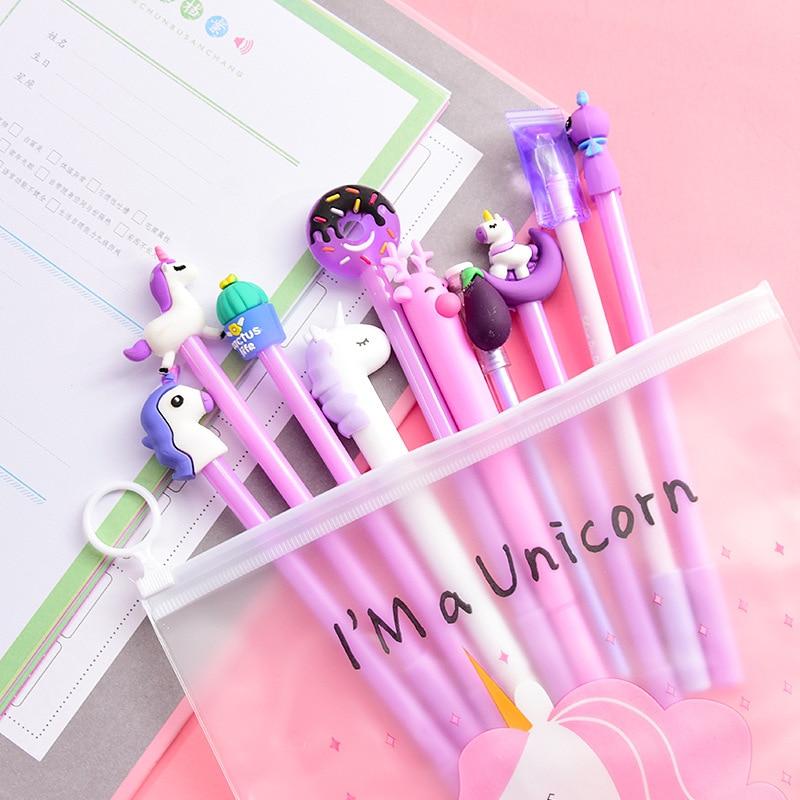 10 Pcs Se tunicorn gel pen cute kawaii licorne Creative 0 5mm stationery papelaria fourniture bureau material escolar kalem in Gel Pens from Office School Supplies