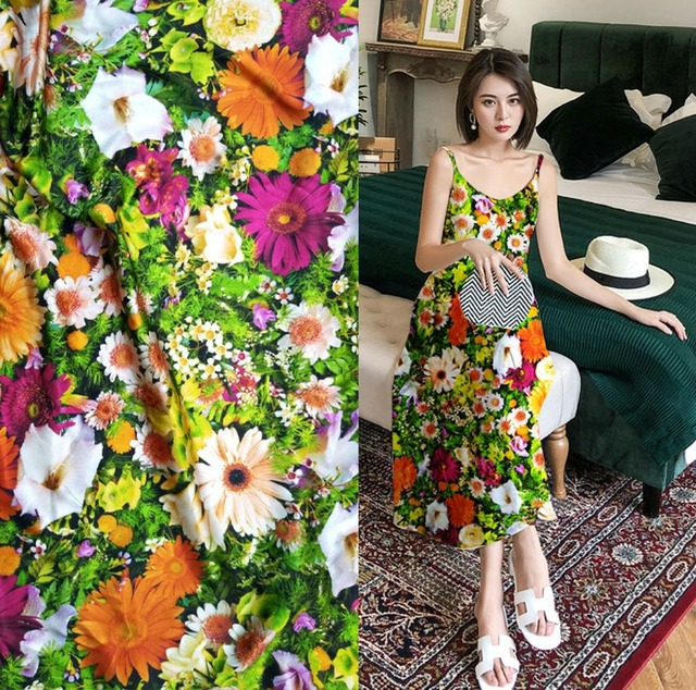 Telas New fashion super fashion designs green flowers prints fabric silky satin blouse dress 19mm silk fabric tissus au metre