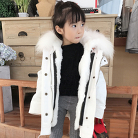 JKP 2018 New stylish real raccoon wool coat boy and girl Casual army parka Cotton outerwear children genuine fur jackets CT 23